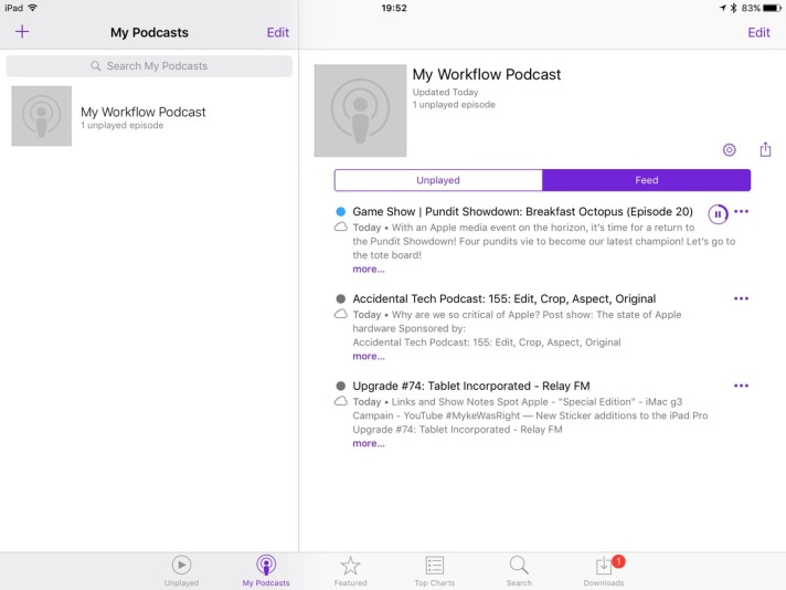The resulting Workflow-created feed in Podcasts