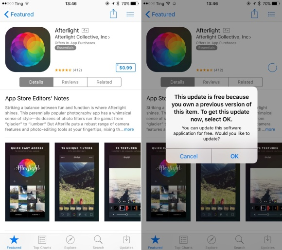 """Afterlight is an app I purchased previously. It initially shows its price but after """"buying"""" it, I'm notified that the download is actually free"""