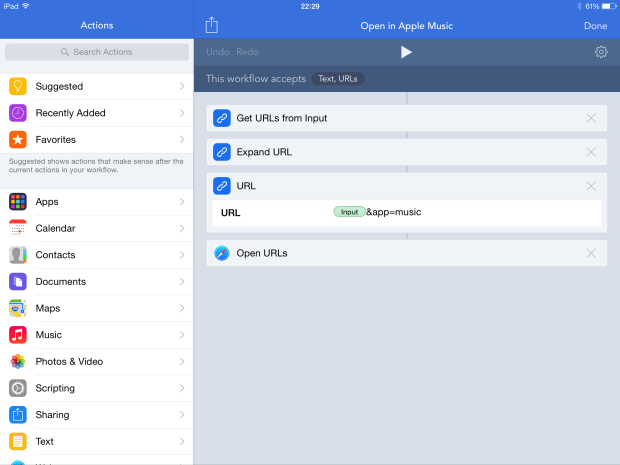 Workflow to open iTunes Store content in Apple Music