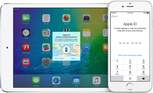 iOS 9's two-factor authentication will display location information of the device attempting to sign in