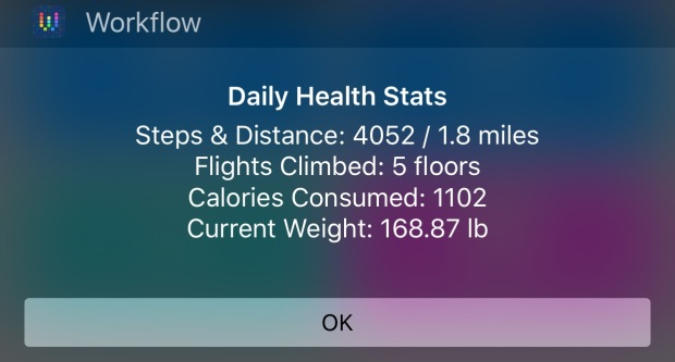 A daily health report in the Today Widget